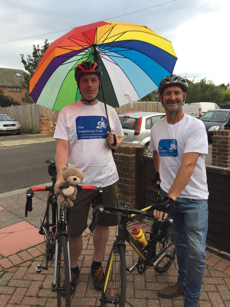 Fundraisers pose before cycle expedition to Paris from Worthing