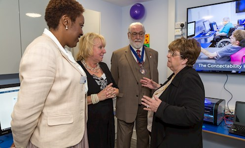 Councillor Pat Hearn talking to Anita Cobb, Service Manager of Shinewater Court, and Irene Sobowale, Chief Executive of The Disabilities Trust