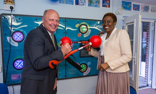 Chief Executive, Irene Sobowale, and Vice-Chair of Trustee's, Steve Howell, at the launch of the ConnectAbility Hub, in Shinewater Court, Eastbourne