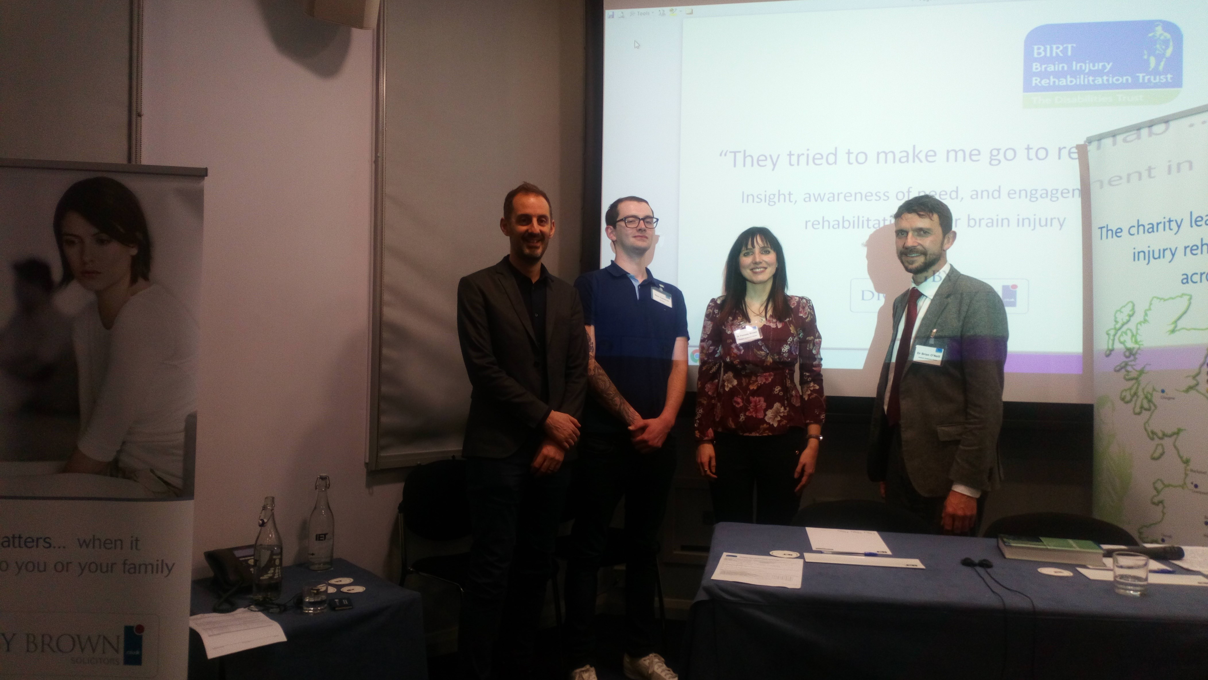 Dr Paul Dockree, Dr Pamela Brown, Sam Cameron and Dr Brian O'Neill at the BIRT seminar in Glasgow