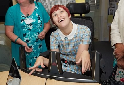 Service user using assistive technology