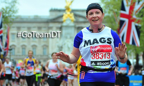 margaret mcaign runs the London marathon for team dt