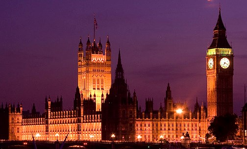 stock photo of Westminster by the Thames at night